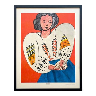 "Henri Matisse Vintage 1960 Framed Large Fine Art Lithograph Print "" La Blouse Roumaine "" 1940 For Sale"