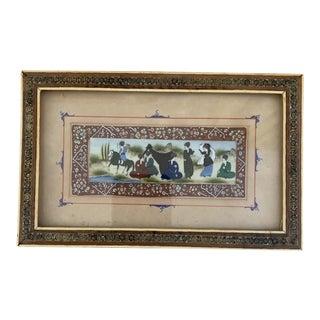 Vintage Persian Painting in Antique Khatam Kari Inlaid Frame For Sale