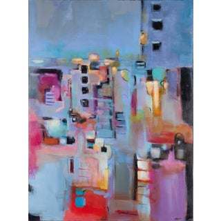 "Amber Favre ""City View Abstract"" Acrylic on Canvas Original Painting For Sale"