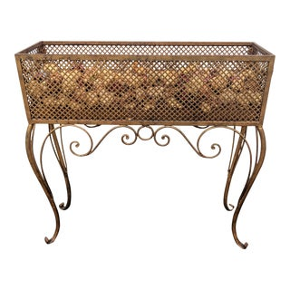 Italian Gilt Metal Rope and Tassel Planter For Sale