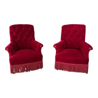 Pair of French Napoleon III Tufted Armchairs in Red Velvet For Sale