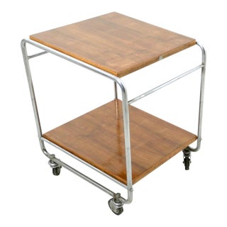 Walnut and Nickel-Plated Metal Serving Cart Produced by Cova, Italy, 1940s For Sale