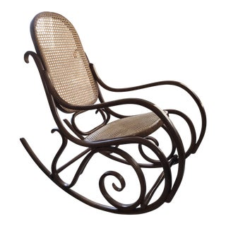 1970s Vintage Thonet Bentwood Rocking Chair For Sale