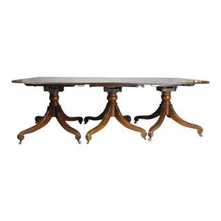 Regency Mahogany Three-Pedestal Dining Table For Sale