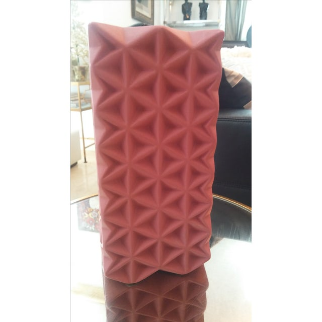 New Tom Dixon Modern Large Rose Pink Grid Vase Chairish