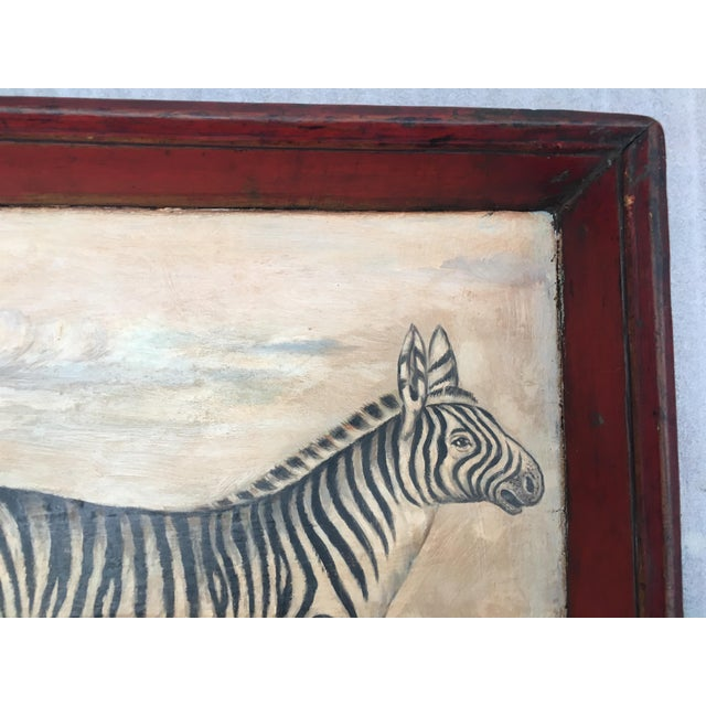 Antique Zebra Painted Wooden Tray For Sale - Image 4 of 11