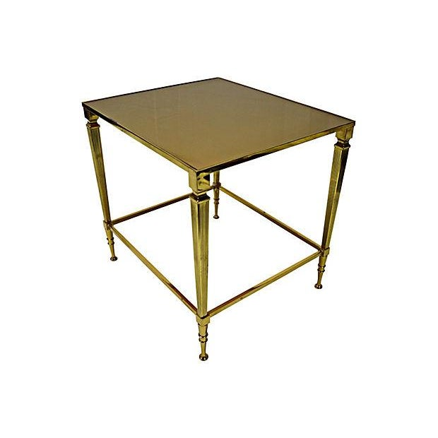 Neoclassical Brass & Glass Auxiliary Side Table - Image 5 of 10