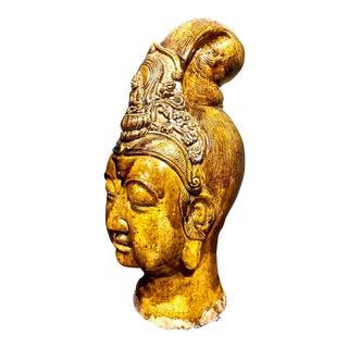 1900s Chinese Glazed Terra Cotta Buddha Head