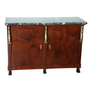 Pair of Baltic Empire Mahogany, Parcel-Gilt Two-Door Credenza For Sale