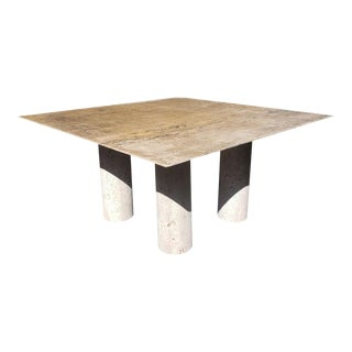Monumental Italian Travertine Dining Table After Mario Bellini For Sale
