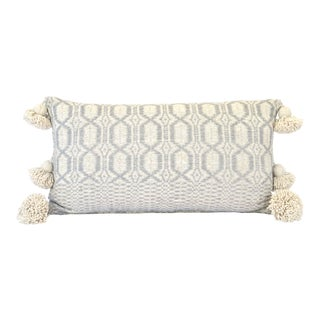 Boho Chic Ecru and Grey Woven Blanket For Sale