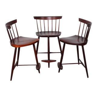Set of Three Mira Barstools by George Nakashima For Sale