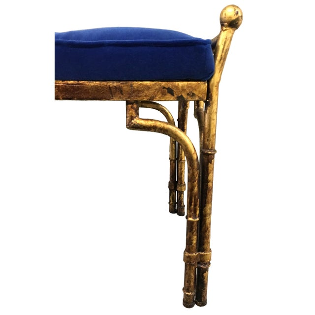 Asian Gold Gilt Faux Bamboo and Blue Velvet Bench For Sale - Image 3 of 5