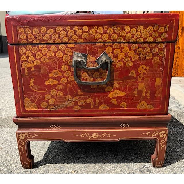 Chinese Antique Chinese Red and Gilt Lacquered Martial Arts Storage Trunk on New Stand For Sale - Image 3 of 8