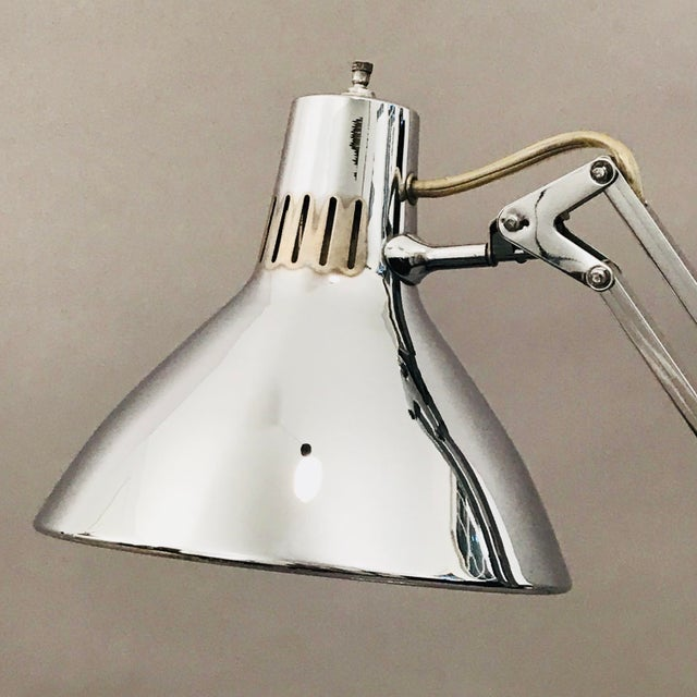 Luxo L-1 Chrome articulated spring-Arm Lamps designed by Jacob Jacobsen. 1960's vintage.