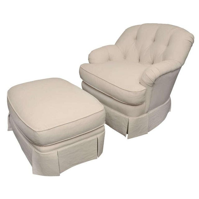Ivory Tufted Swivel Chair For Sale - Image 9 of 9