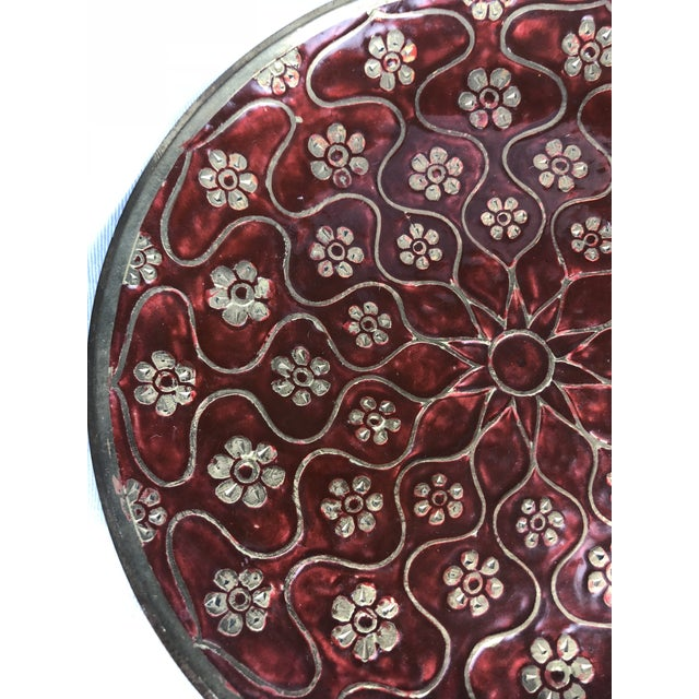 Late 20th Century Vintage Brass Enamel Decorative Plate For Sale - Image 4 of 8