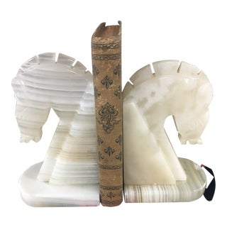 Mid Century Modern Marble Horsehead Bookends For Sale