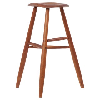 Signed Wooden Studio Bar Stool by an American Craftsmen, 1984, Us For Sale