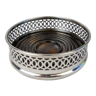 English Silverplate Wine Coaster For Sale