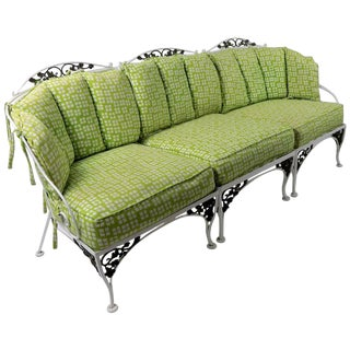 Vintage Mid Century Woodard Iron and Brass Sofa For Sale