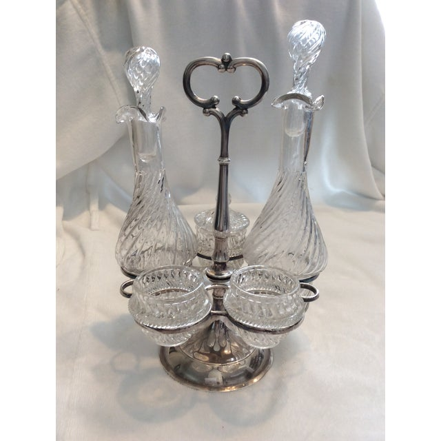 English Cruet set with hand blown glass in swirl pattern...c 1900-1920 includes silver plate holder with spaces for oil;...