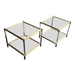 Mitchell Gold Beverly Lucite & Brass Side Tables - A Pair For Sale