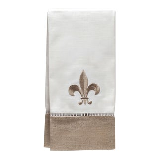 Fleur di Lis Guest Towel, Beigein Combo Linen, Embroidered For Sale