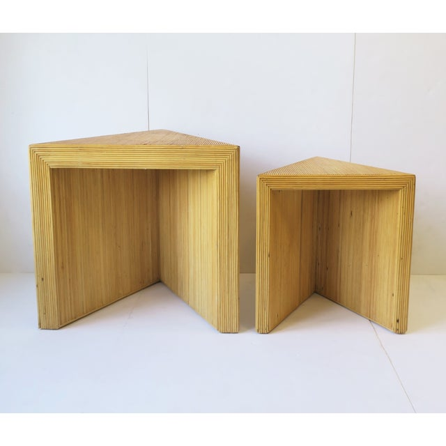 Wicker Rattan Pencil Reed End Tables Nesting Tables For Sale - Image 10 of 13