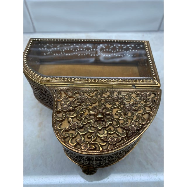 Metal Vintage Brass Filigree Piano-Shaped Jewelry Music Box For Sale - Image 7 of 11