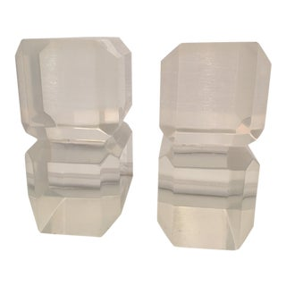 1960s Vintage Lucite Ice Cube Bookends - A Pair For Sale