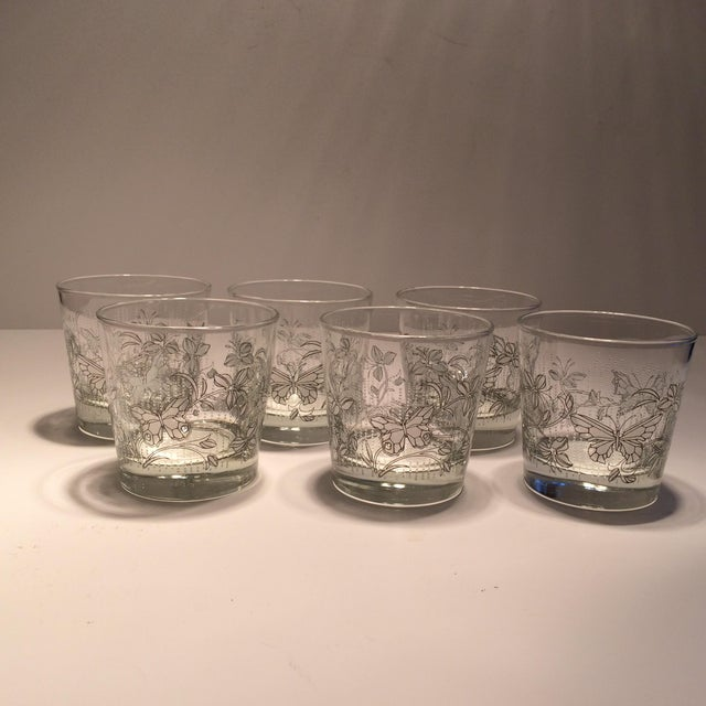 Vintage Butterfly Design Low Ball Glasses - Set of 6 - Image 2 of 11