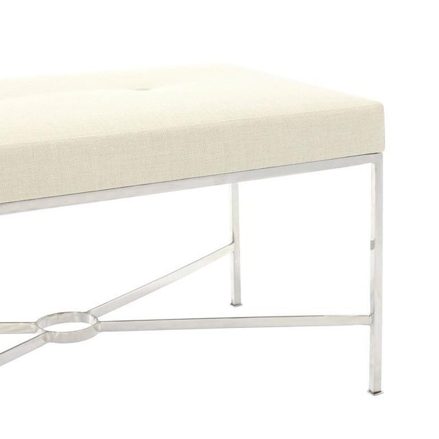 Chrome X-Base Upholstered Top Bench For Sale In New York - Image 6 of 9