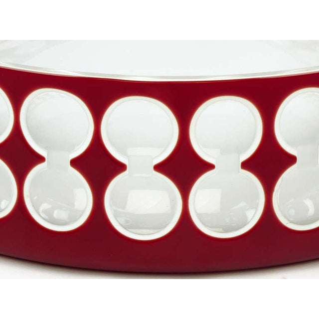 Hungarian Hand-Cut Red and White Cased Glass Bowl For Sale - Image 4 of 6