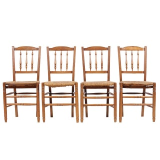 Country French 1940s Rush Chairs - Set of 4 For Sale