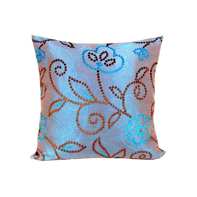 Vintage Floral Handwoven Varanasi Brocade Reversible Pillow For Sale - Image 13 of 13