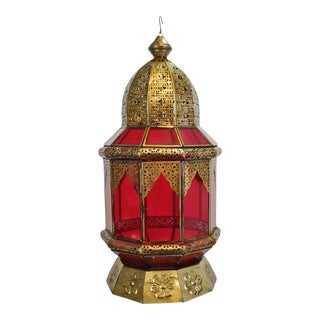 Moorish Brass & Red Glass Lantern For Sale
