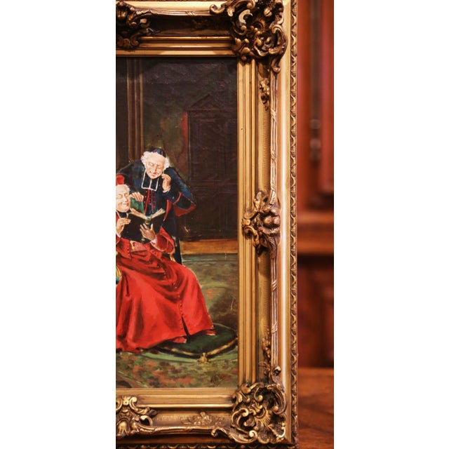 Canvas 19th Century French Priest Oil Painting in Carved Giltwood Frame Signed M. Valle For Sale - Image 7 of 9
