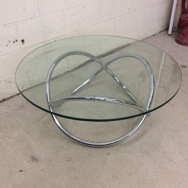 Mid-Century Modern Mid Century Chrome Tubular Infinity Coffee Table For Sale - Image 3 of 10