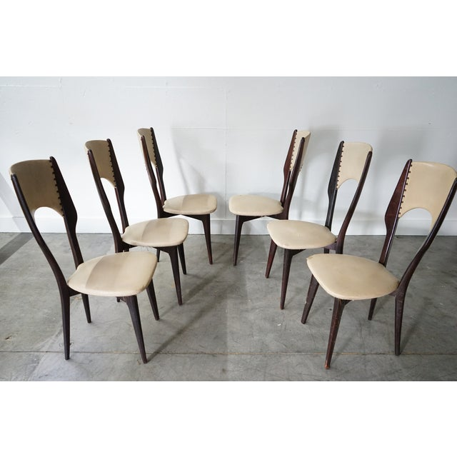 Mid-Century Modern Vintage Italian Dining Chair by Designer Gio Ponti, Sold as a Set For Sale - Image 3 of 9