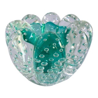Turquoise Murano Ashtray / Candle Holder For Sale