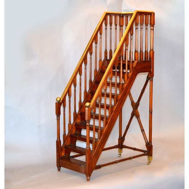 Architectural Decorative Victorian Walnut & Brass Library Steps, Ladder, Stairs For Sale - Image 13 of 13
