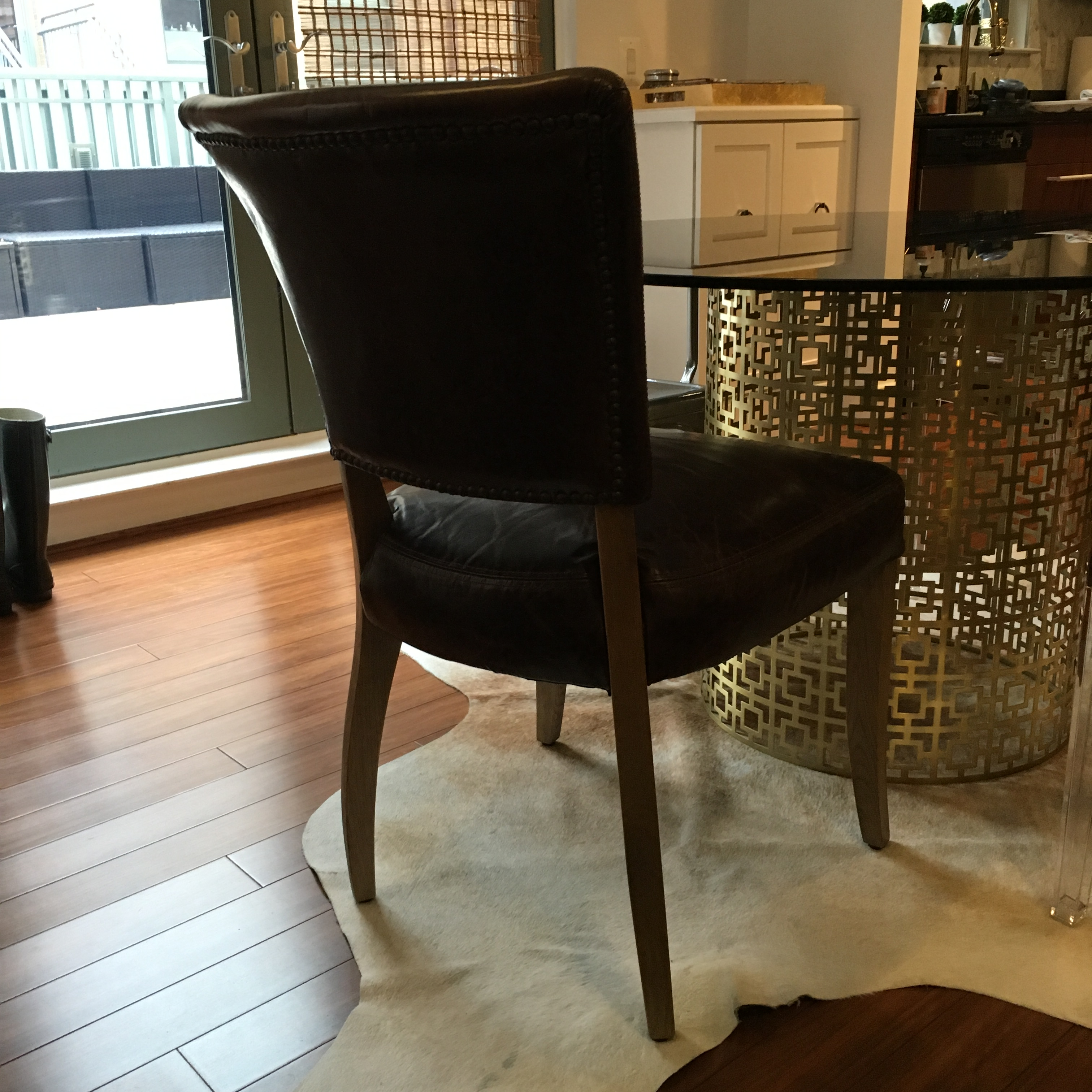 Restoration Hardware Adele Leather Chairs   Pair   Image 2 Of 5