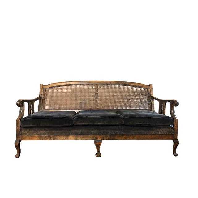 1900s Chippendale Colonial Style Cane Back Carved Wood Blue Fortuny Style Velvet Fabric Settee Antique Sofa or Daybed For Sale - Image 10 of 10