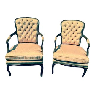 Custom Salmon Silk Fabric Armchairs - A Pair