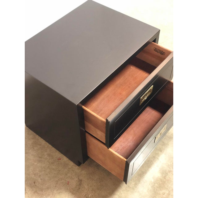 2 Drawer Henredon Black Lacquered Campaign Chest For Sale In New York - Image 6 of 12