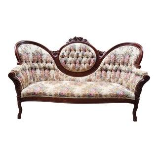 Vintage Victorian Medallion Tufted Floral Sofa For Sale