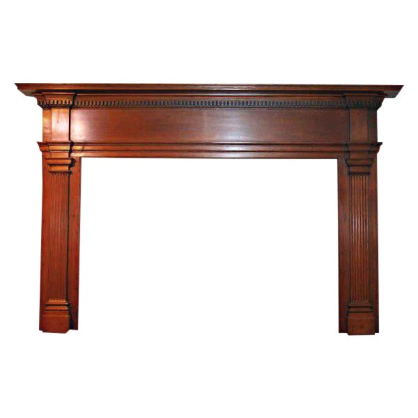 19th Century American Pine Wooden Mantel For Sale
