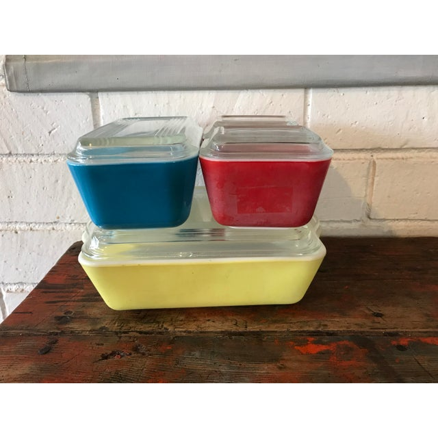 Mid-Century Modern Pyrex Primary Color Refrigerator Dishes - 8 Pcs For Sale - Image 3 of 10