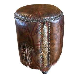 Vintage Leather Moroccan Pouf For Sale